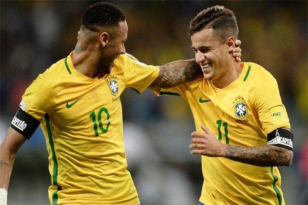Неймар и Коутиньо в Бразилии