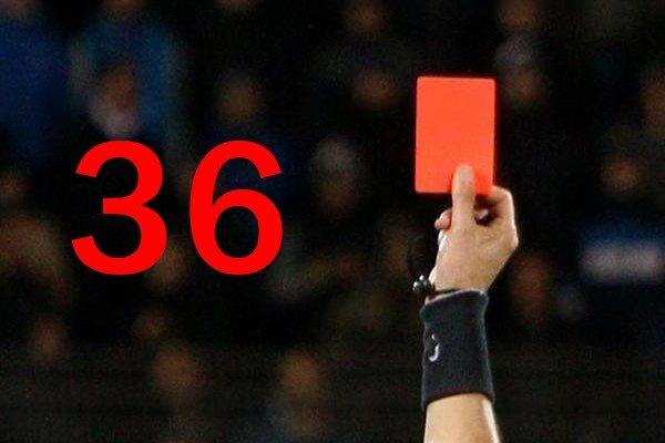 36 красных карточек
