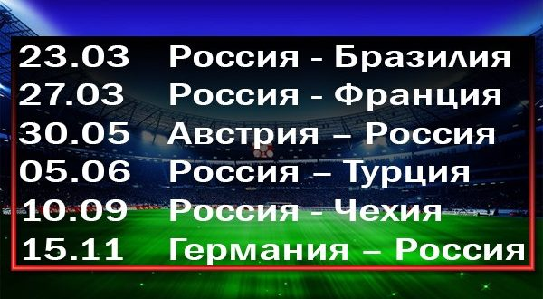 Товарищеские матчи сборной России по футболу в 2018 году: расписание