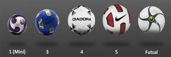 5 размеров футбольных мячей