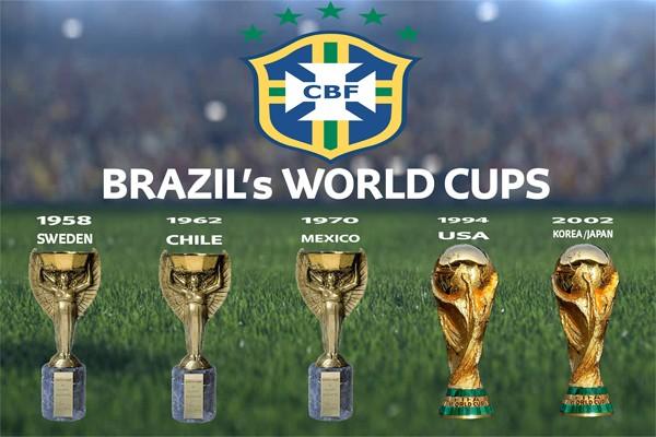 5 Кубкков мира по футболу сборной Бразилии