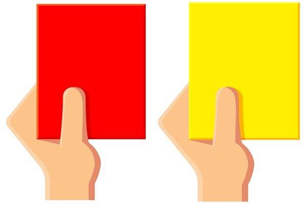 красная и жёлтая карточки для футбола