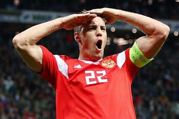 Празднование Дзюбы за сборную России